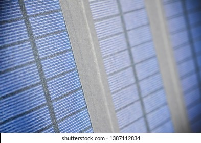 Close Up Background of Portable Solar Charger Panels in the Sunlight