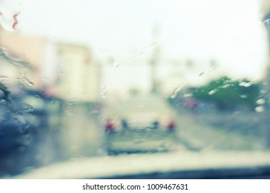Close up background of water drops on glass car