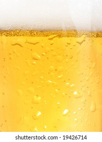 Close up of backlit glass of beer