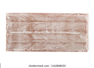 Close up of bad chocolate bar isolated on white background
