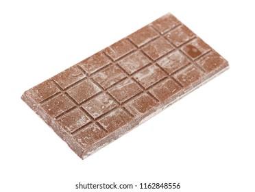 Close up of bad chocolate bar isolated on white background