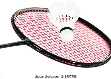 Close up badminton racket on white background