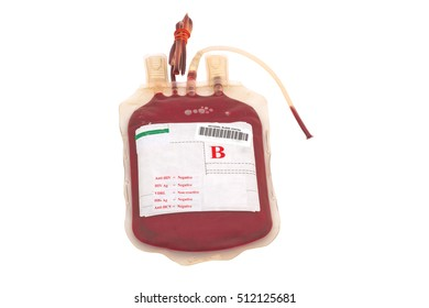 Close up bag of blood and plasma  group B and rubber tube isolated on white background.Saved with clipping path.