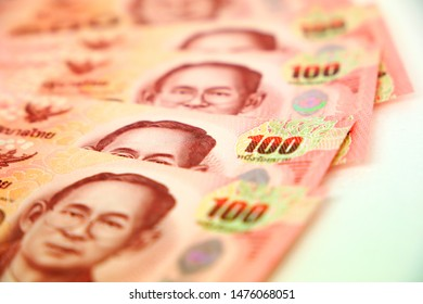 Close up  baht Thai currency. Close up baht Thai money on white  background. ,Banknotes Thailand