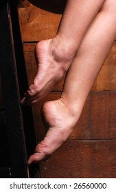Close up of a ballerina's bare feet