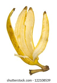 Close up of a banana peel isolated on white background