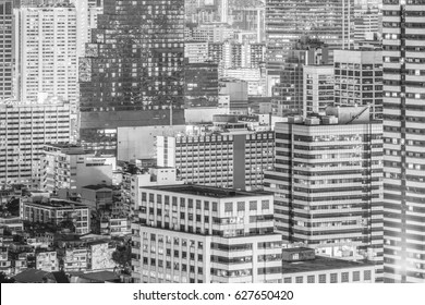 Close up of Bangkok cityscape. Aerial view of buildings for construction and business background.