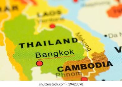 Close up of Bangkok, Thailand on map