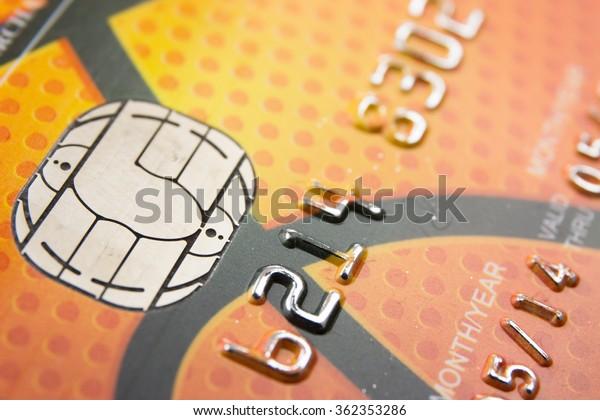 Close Up bank card chip