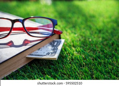 Close up banknote of US hidden in book on green grass.