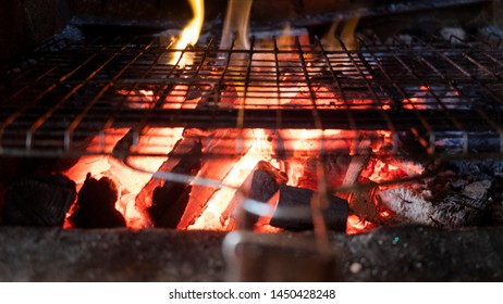 Close up of barbecue grill mangal preparation with fire İstanbul-Turkey
