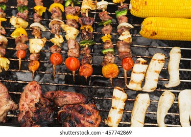 Close up barbecue grill and vegetable on the grill.