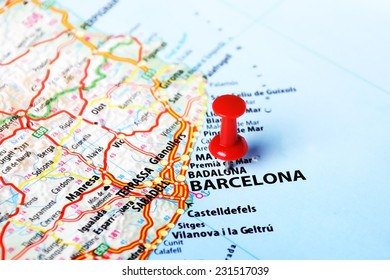 Close up of Barcelona ,Spain  map and red pin - Travel concept