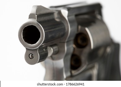 Close up of barrel revolver gun on white background , Pocket gun or Concealed pistol