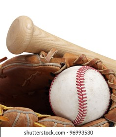A close up of a baseball, mitt and bat on a white background with room to add white copy space.