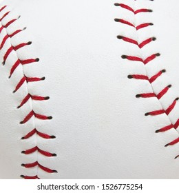 Close up baseball seams or softball seams with red seams and a white baseball ball leather texture background