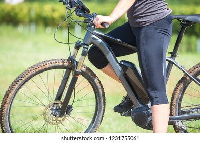 Close up of battery of an electric mountainbike