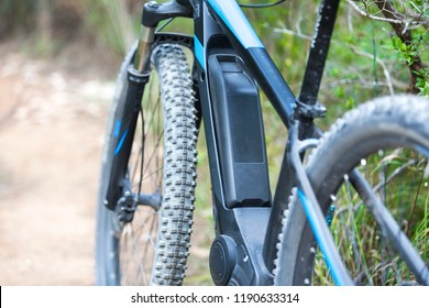 Close up of battery of an E-Mountainbike