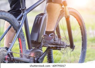 Close up of battery of an E-Mountainbike