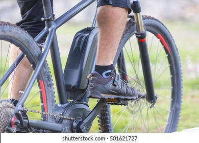 Close up of battery pack of an E-Mountainbike