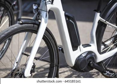 Close up of battery pack of an modern electric bicycle