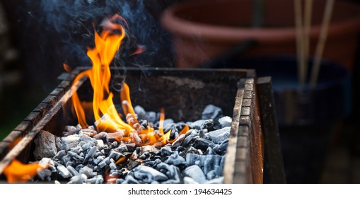 Close up BBQ with charcoal and fire