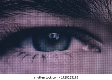 Close up Beautiful abstract eye. Minimalist modern style concept. dark Background pattern for design. Macro photography view. Close-up of pixel.
