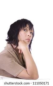 Close up of a Beautiful Asian Hispanic Girl - Isolated Shot