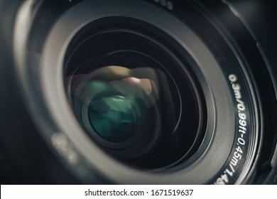 美しいカメラレンズを接写します。デザインの背景パターン。