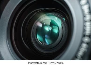 Close up beautiful camera lens of black background. Macro view.