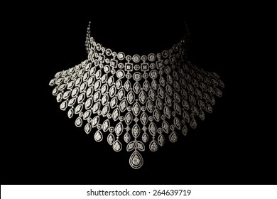 Close up of beautiful diamond necklace on black background