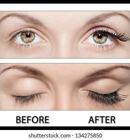 Close Beautiful eyes with false eyelashes