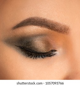 Close up of beautiful female eye with makeup