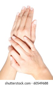 Close up of beautiful female hands on white background