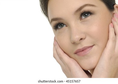 Close up beautiful girl with health skin of face
