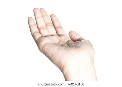 Close up of beautiful  hand isolated on white background with clipping path.