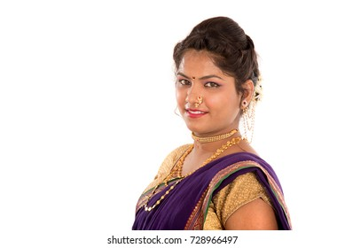 Close up of Beautiful Indian Traditional young girl in saree on white background
