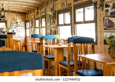 Close up of beautiful inside of resort Dalat Train Villa & Cafe is italian menu style and vintage traditional homestay for customer drinking coffee at tropical resort in Dalat, Vietnam. Oct, 2018.
