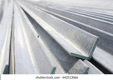Close up beautiful photograph of metalic angle beam in perspective view