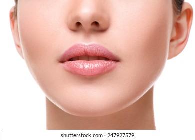 Close up of beautiful pink lips