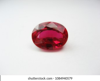 close up beautiful ruby gems stone oval cutting