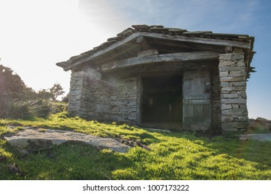Close Up Beautiful Stone Sheep Barn In Countryside Mountains Basque Country France