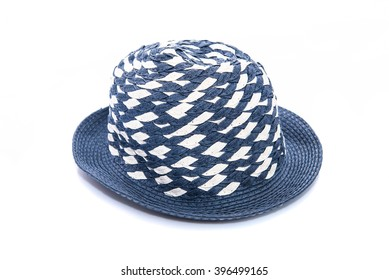 Close up of beautiful summer hat for kid on white background isolated.