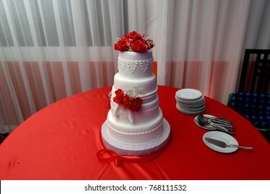 Close up beautiful tasty wedding cake