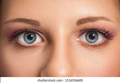 Close up of beautiful woman blue eyes with modern make up