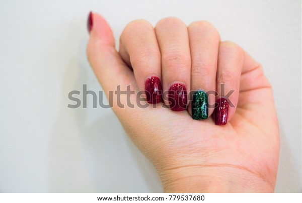 Close Beautiful Woman Hand Red Green Stock Photo (Edit Now