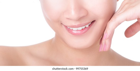 close up of beautiful woman mouth and lips with charming smile isolated on white background, model is a asian girl