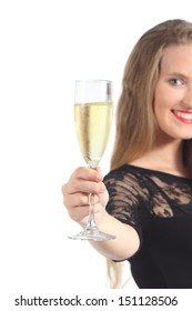 Close up of a beautiful woman toasting with champagne isolated on a white background
