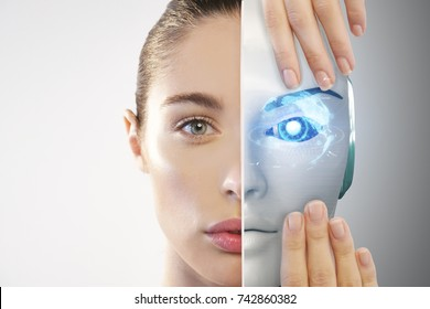 Close up of a beautiful woman's face with half human face and half-face robot with advanced and futuristic technology. Concept of: technology, robotics, the future, progress and science.
