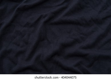 Close up of beautiful wrinkle black fabric texture.